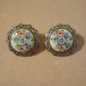 Vintage Porcelain Floral Earrings